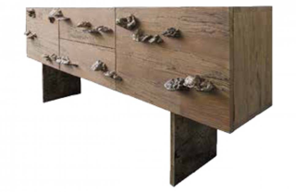 Spalted Ash Sideboard with hand cast bronze with fungi handles