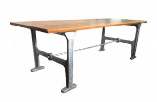Aluminium and Oak Kitchen Table